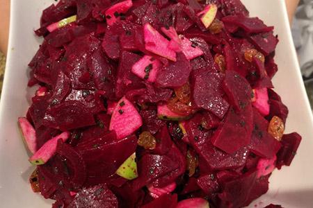 salade betteraves rouges raisins pommes - salade créative